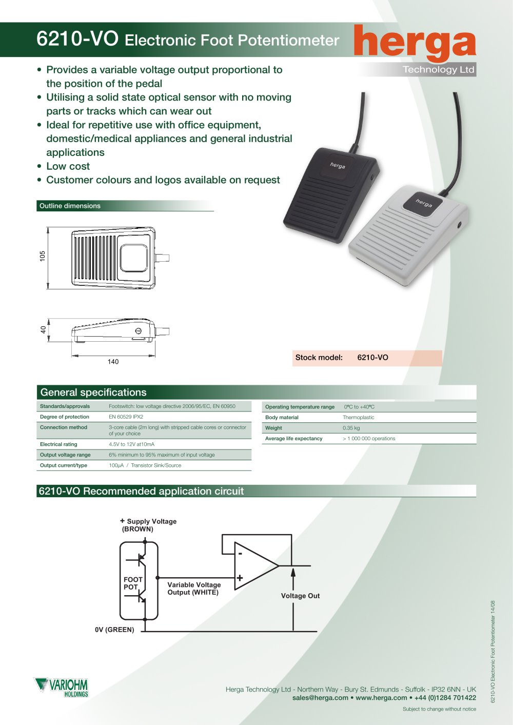 6210 Vo Electronic Foot Potentiometer Herga Pdf Catalogue Circuit Diagram 1 Pages