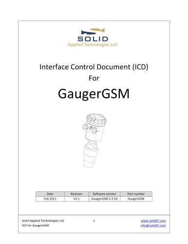 Interface Control Document (ICD) for GaugerGSM