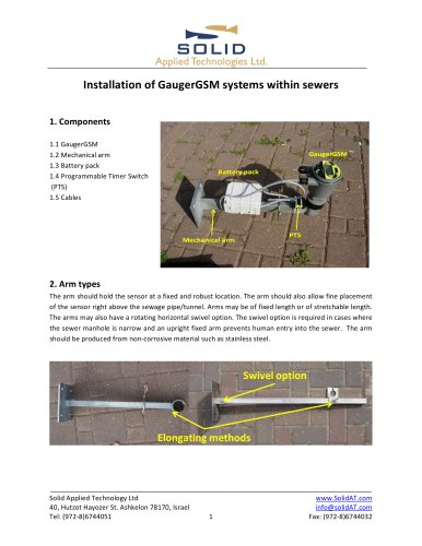 Sewer monitoring - installation instructions