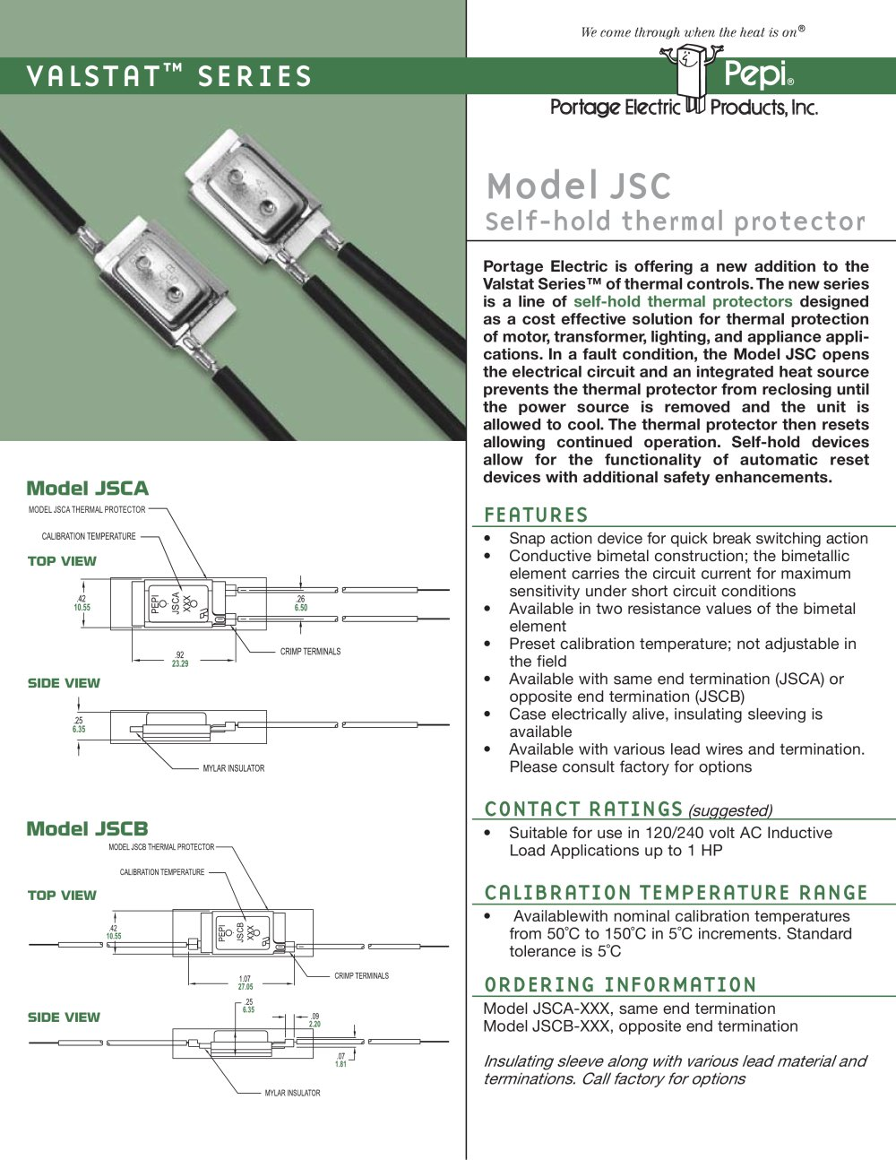 Model JSC Self-hold thermal protector - 1 / 2 Pages