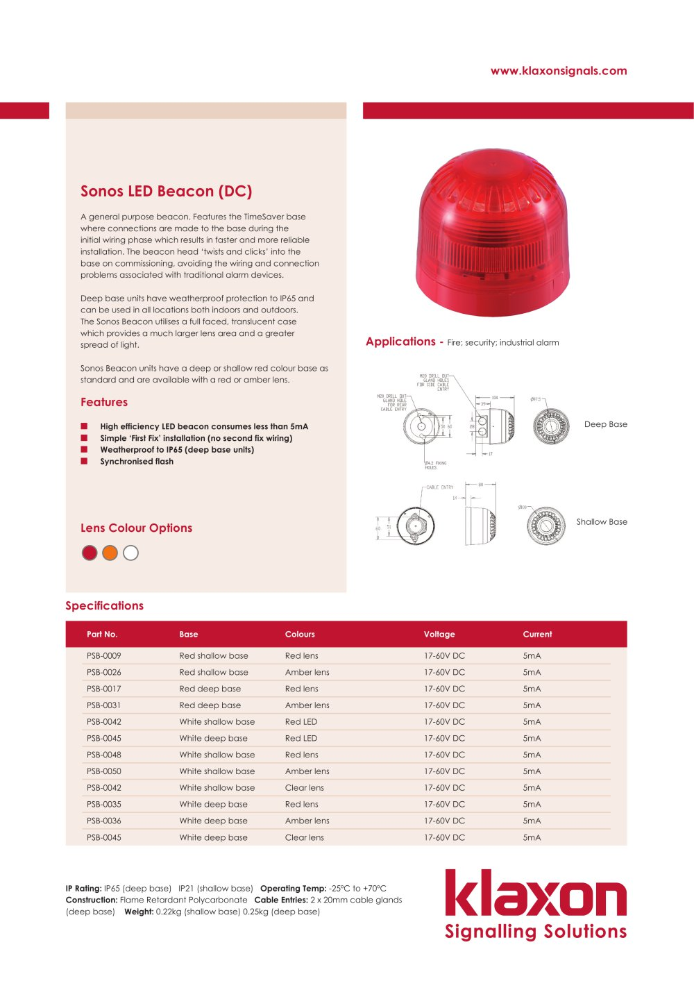 sonos led beacon klaxon signals pdf catalogue technical rh pdf directindustry com