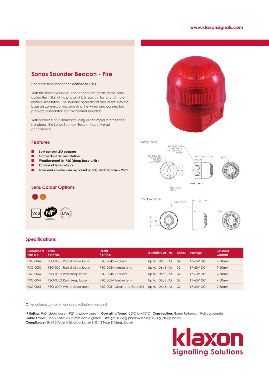 Sonos Sounder Beacon Klaxon Signals Pdf Catalogue Technical Wiring Diagram 1 Pages