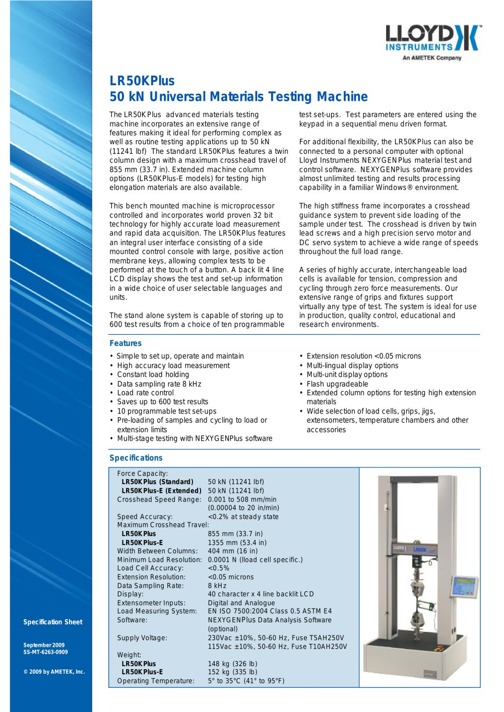 Lr50kplus Material Tester Ametek Sensors Test Calibration Pdf Simple Crystal 1 2 Pages