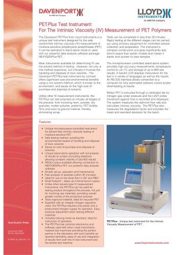 PETPlus Instrument for IV Measurement of PET - AMETEK Sensors, Test