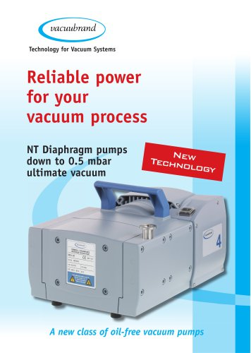 NT diaphragm pumps down to 0.5 mbar ultimate vacuum