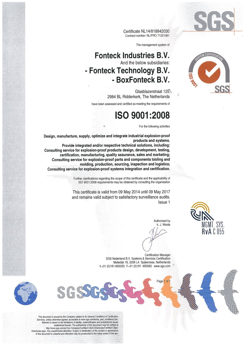 Certification Iso9001 Fonteck Industries Pdf Catalogue