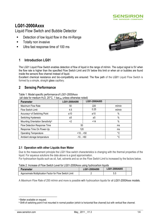 Datasheet Liquid Flow Sensor LG01 - Sensirion - PDF Catalogue ...