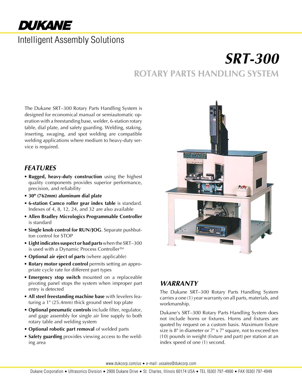 SRT-300 ROTARY PARTS HANDLING SYSTEM - 1 / 2 Pages