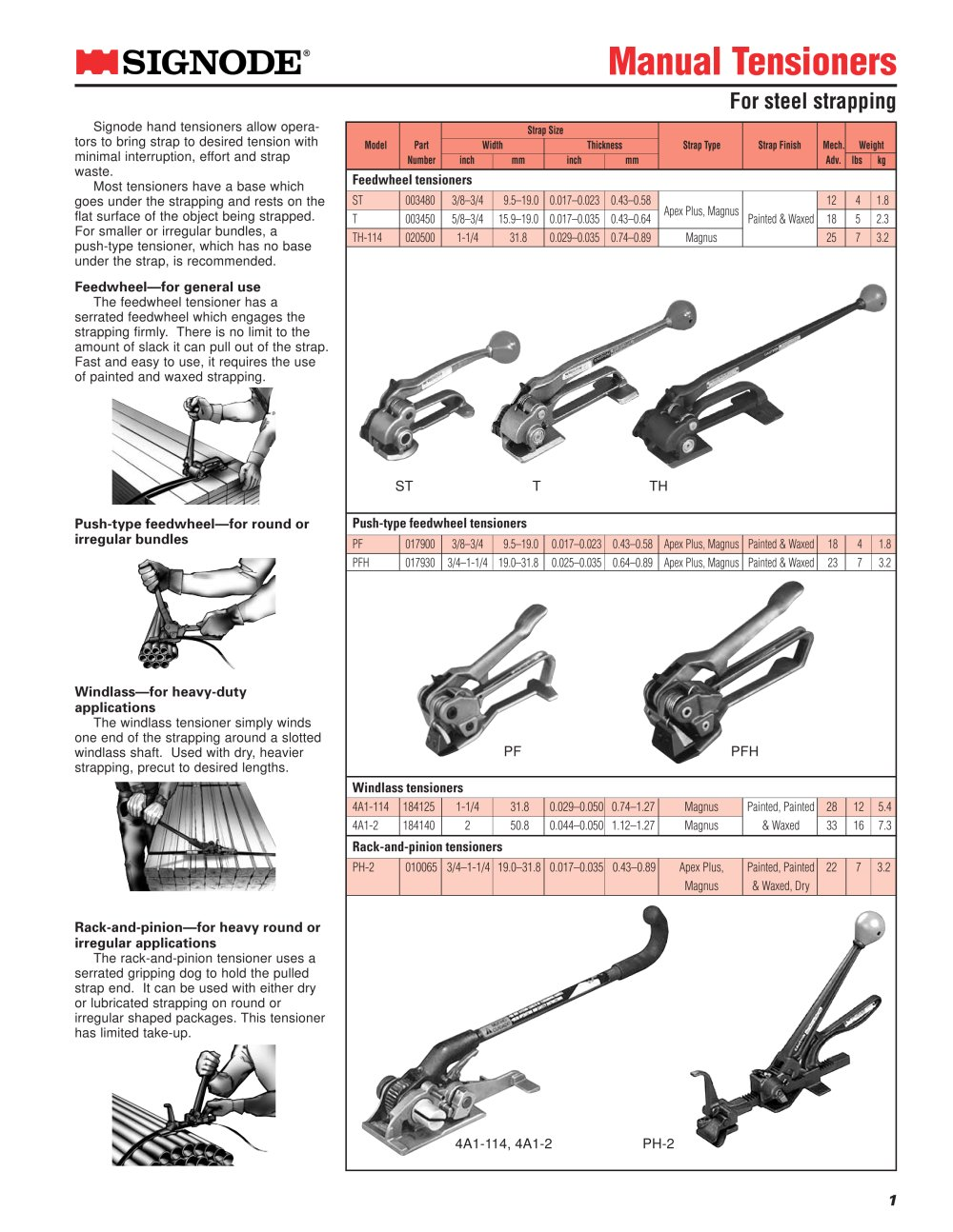 Manual tensioner: ST, T, TH, PF, PFH - 1 / 1 Pages