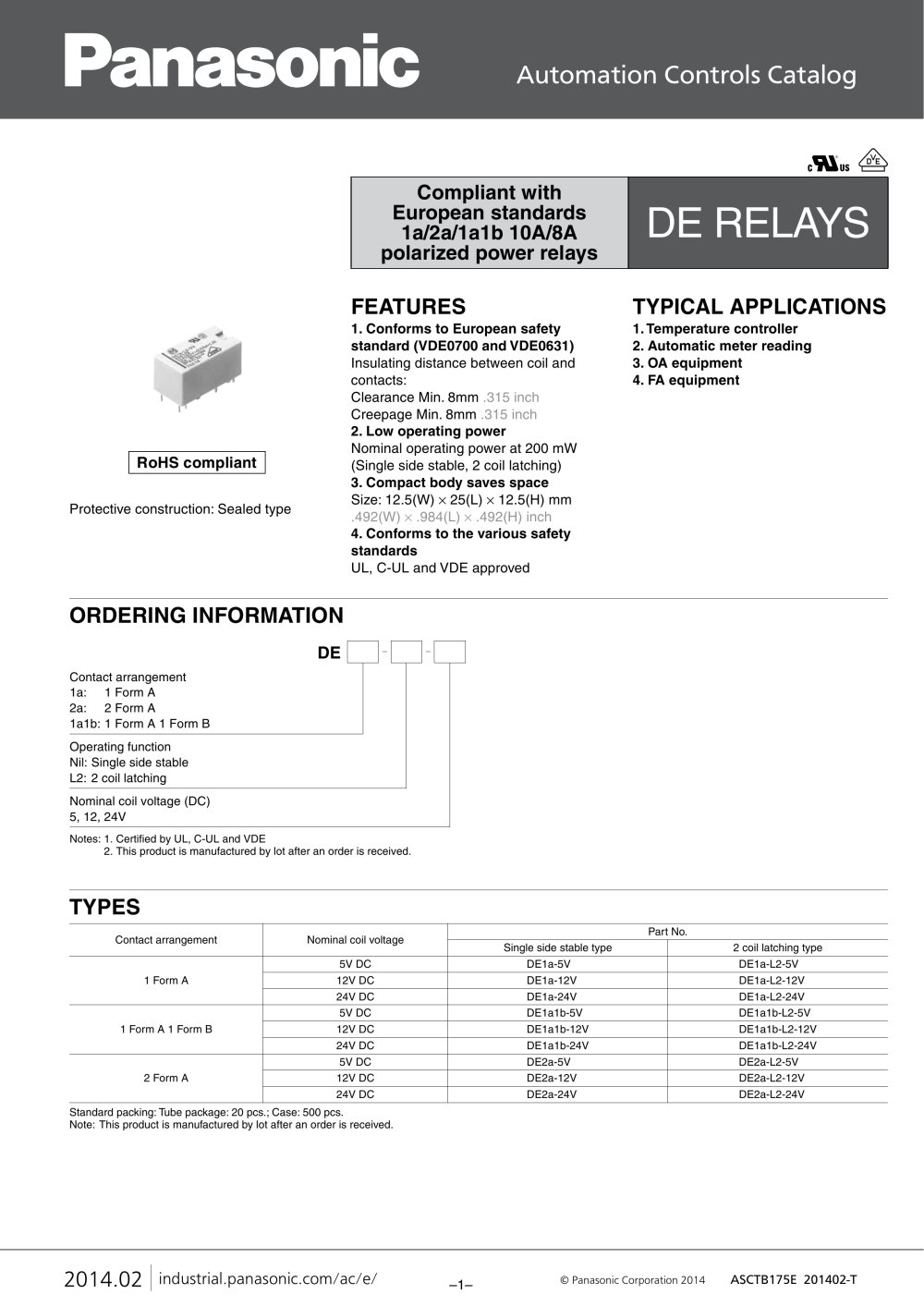 Mechde Relays Ade Matsushita Electric Works Pdf Catalogs Power Relay Latching 1 4 Pages