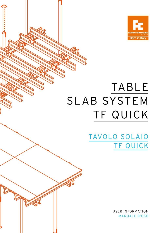 TABLE SLAB SYSTEM QUICK - Farina Formworks ITALY - PDF