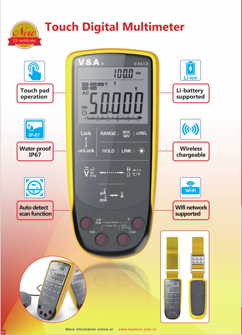 V&A Touch Digital multimeter /WIFI network Electronic measurement ...