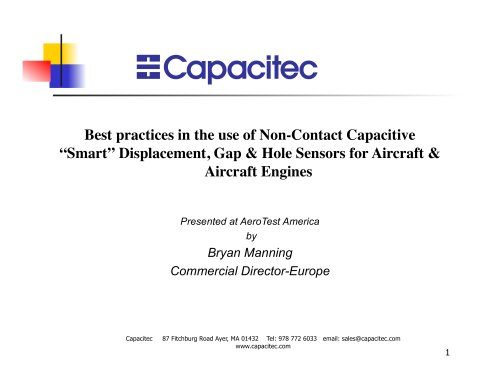"Best practices in the use of Non-Contact Capacitive ""Smart"" Displacement, Gap & Hole Sensors for Aircraft & Aircraft Engines"