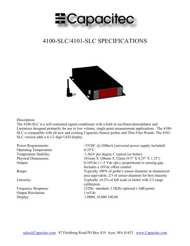 Capacitec 4100-SLC/4101-SLC Signal Conditioner Specifications