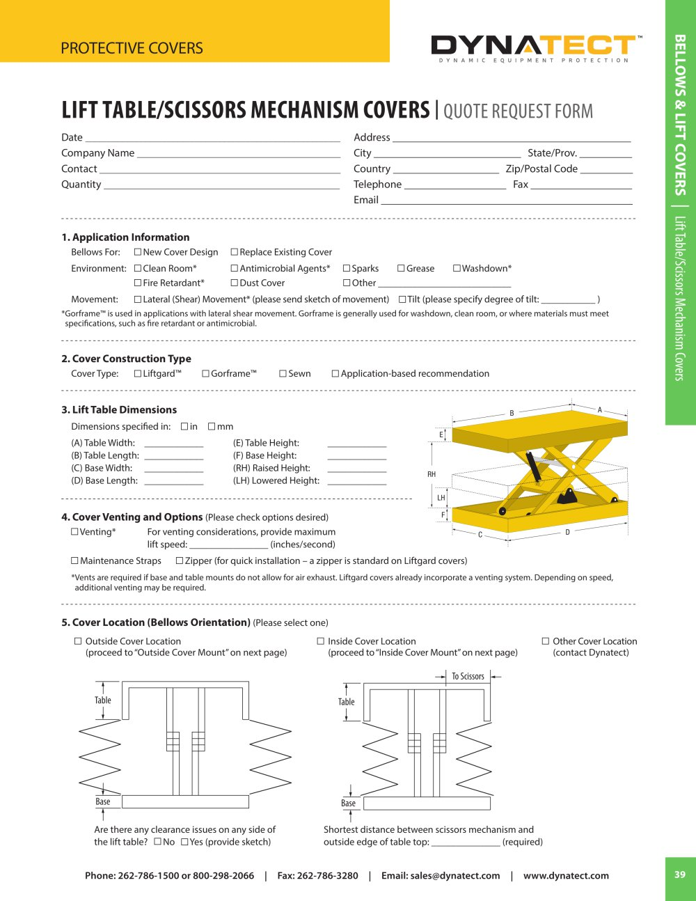 lift table scissors mechanism covers quote form dynatect