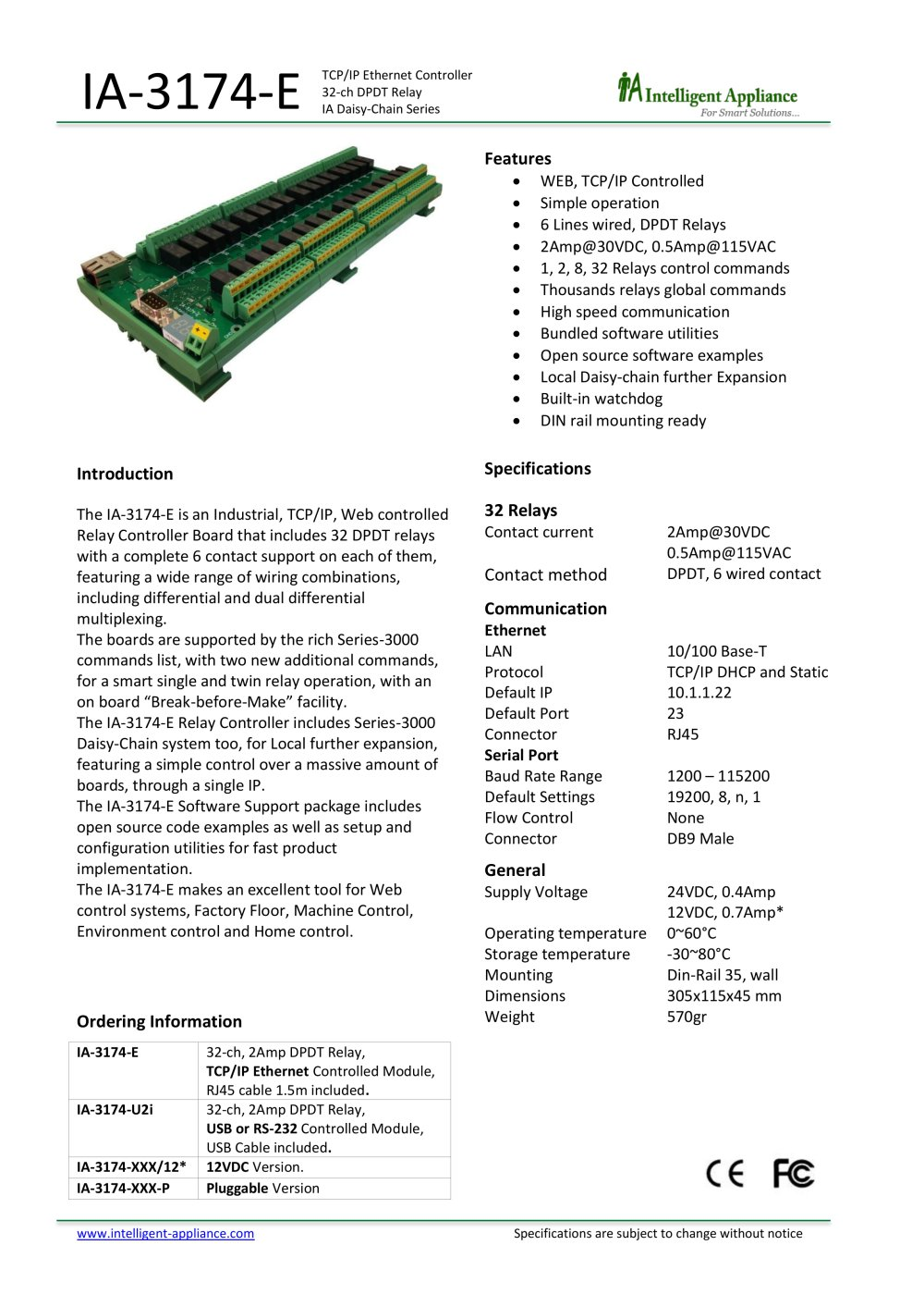 Ia 3174 E P Intelligent Appliance Pdf Catalogue Technical Dpdt Relay Din Rail 1 Pages