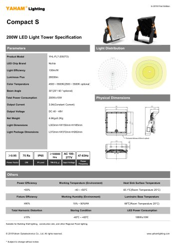 200W LED Light Tower Specification
