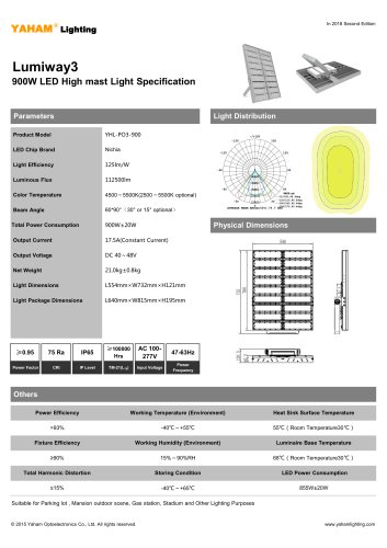 LED HIGH MAST LIGHT |900W Lumiway3 High mast light Specification