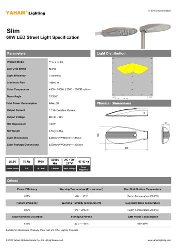 Yaham Slim LED Street Light Suitable for Park, Garden, Courtyard, Urban and Residential Streets, Rural Road