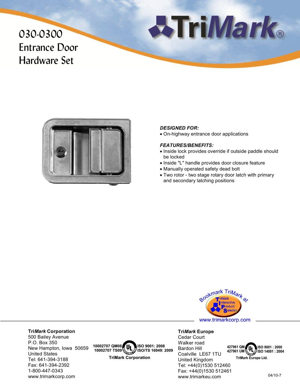 030 0300 Entrance Door Hardware Set   1 / 3 Pages