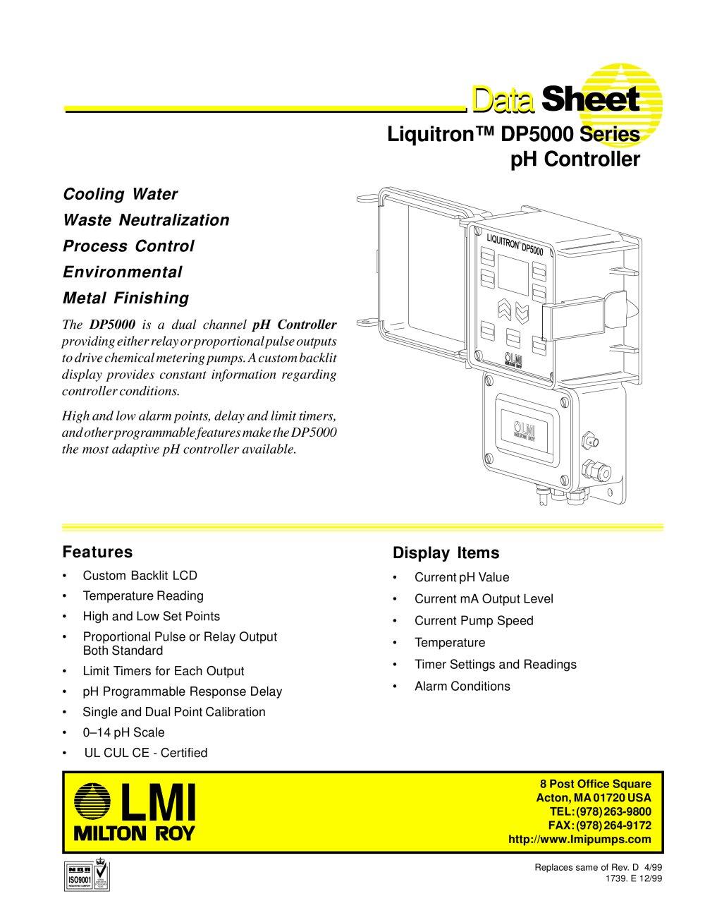 dp5000 lmi milton roy pdf catalogue technical documentation rh pdf directindustry com LMI Pump Catalog LMI Chemical Pumps Parts