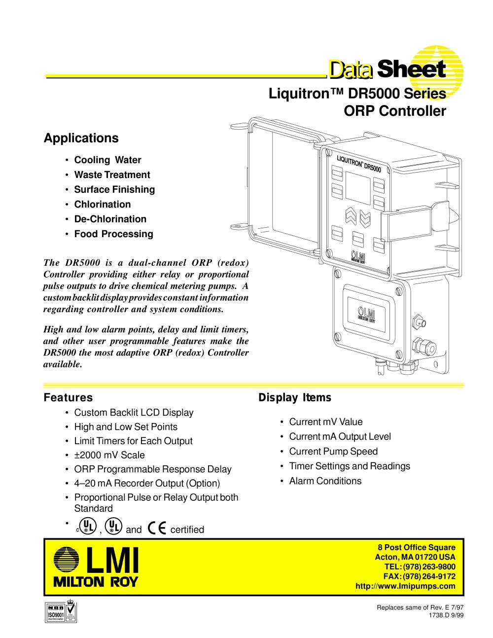 dr5000 lmi milton roy pdf catalogue technical documentation rh pdf directindustry com LMI Pump Parts List Milton Roy Pumps