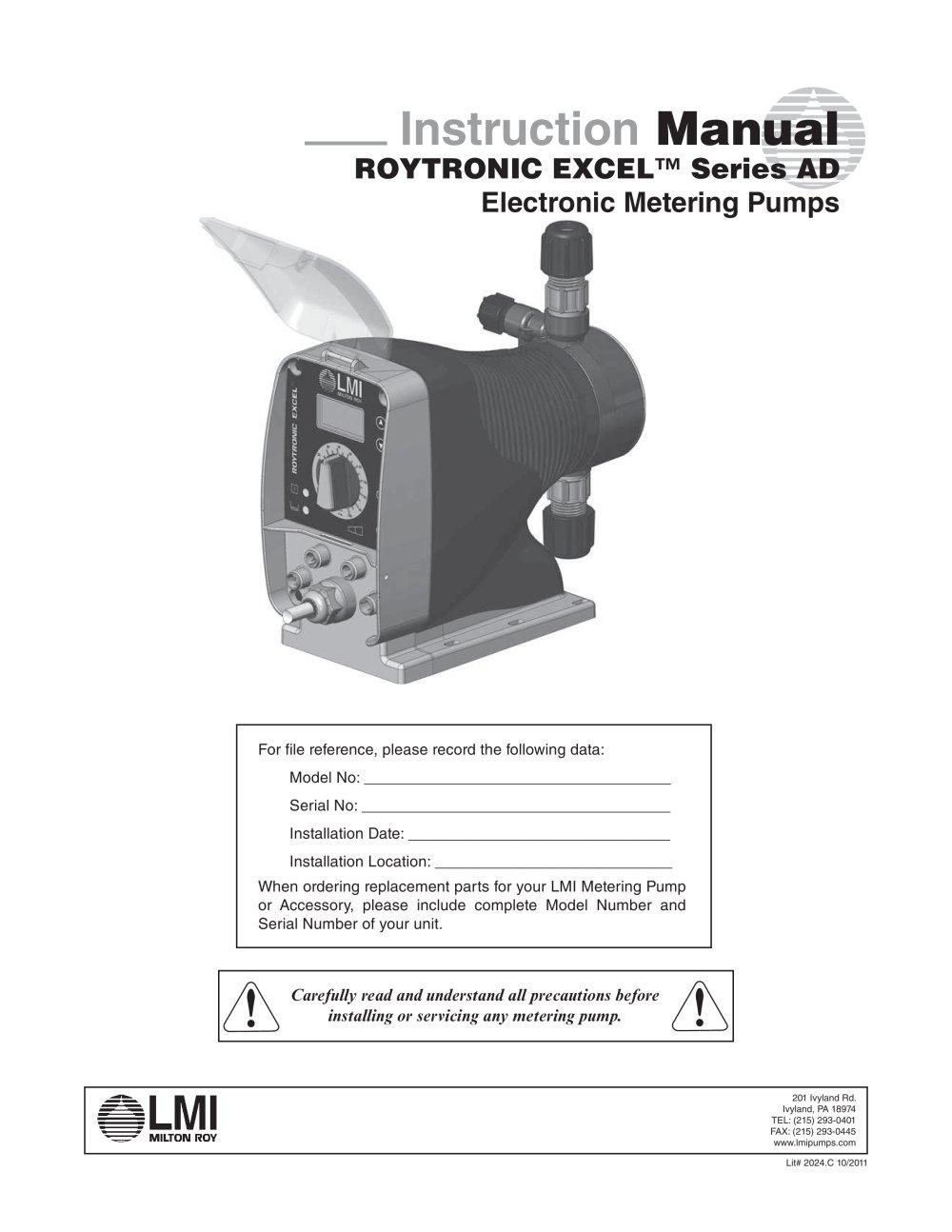 roytronic excel series ad manual lmi milton roy pdf catalogue rh pdf directindustry com LMI Pump Catalog LMI Chemical Pumps Parts