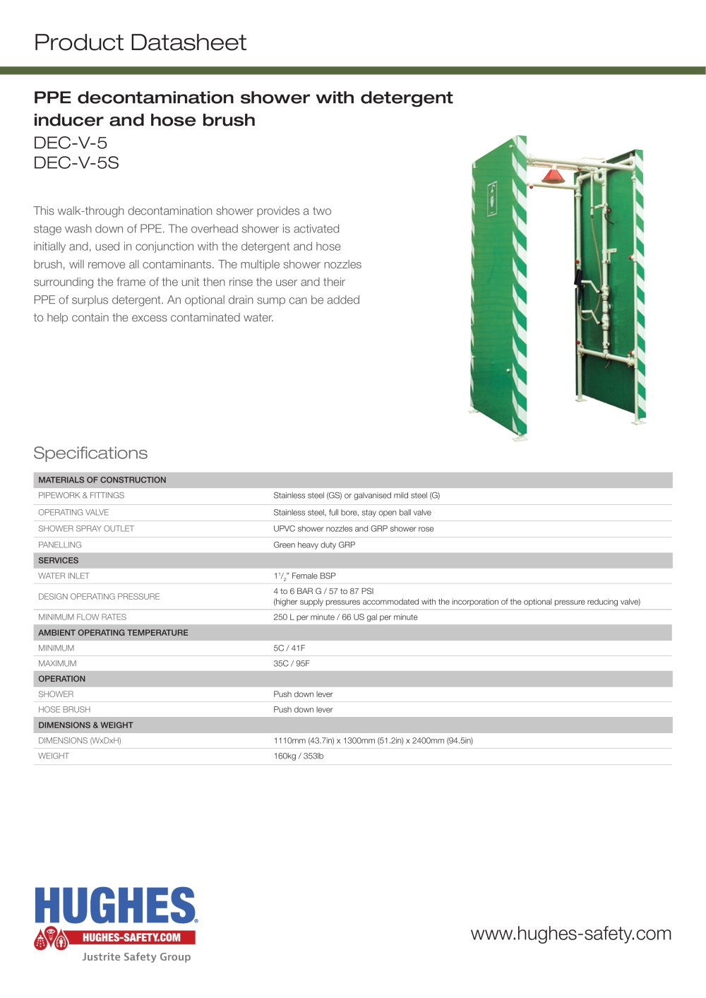 DEC-V-5 Product Datasheet - Hughes Safety Showers - PDF Catalogue ...