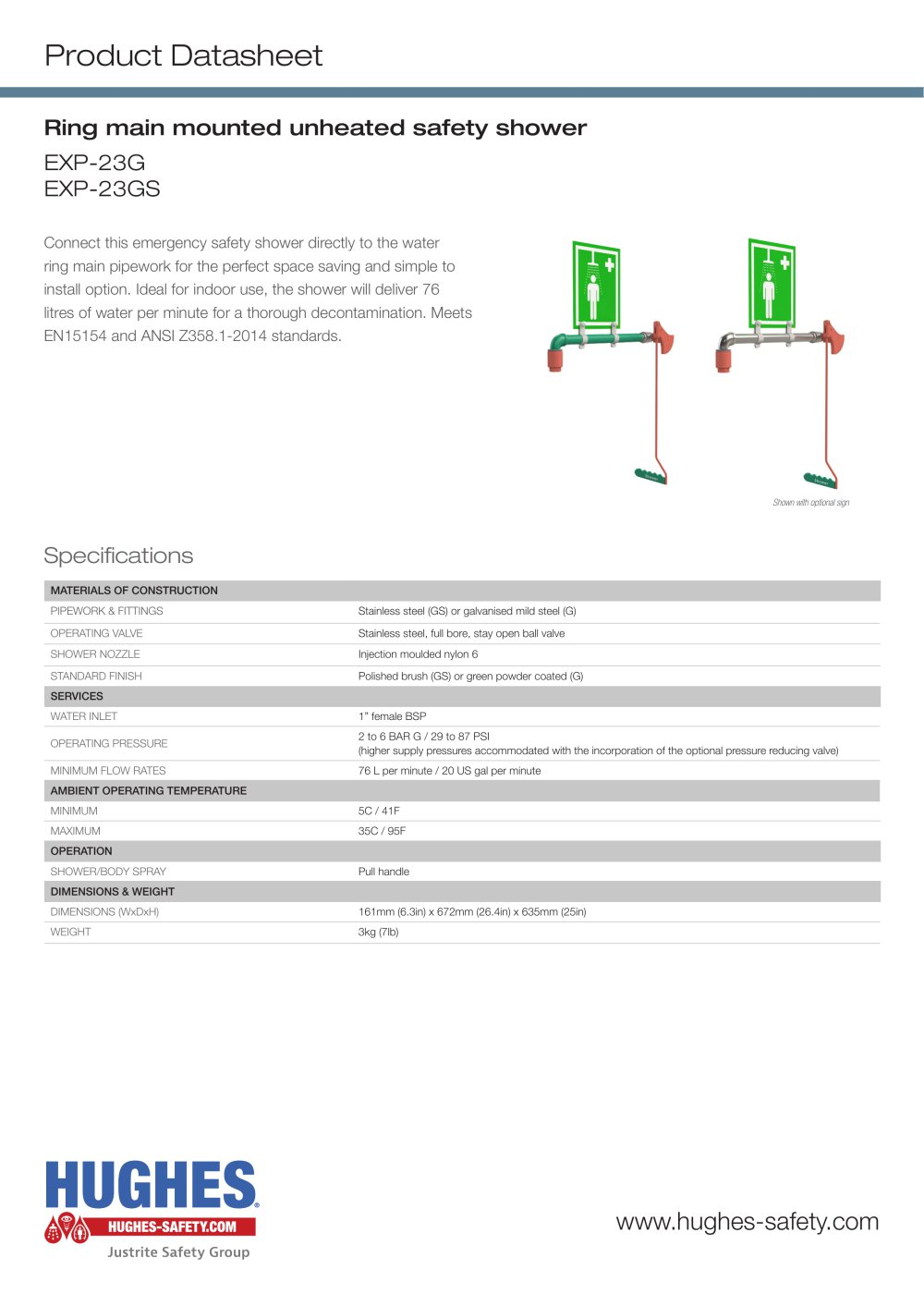 EXP-23G Product Datasheet - Hughes Safety Showers - PDF Catalogue ...