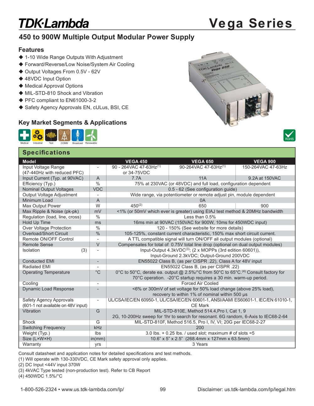 Vega Ac Dc Input Lambda Pdf Catalogs Technical Documentation Power Supply Built In Emi Filter With Overload Short Circuit 1 2 Pages