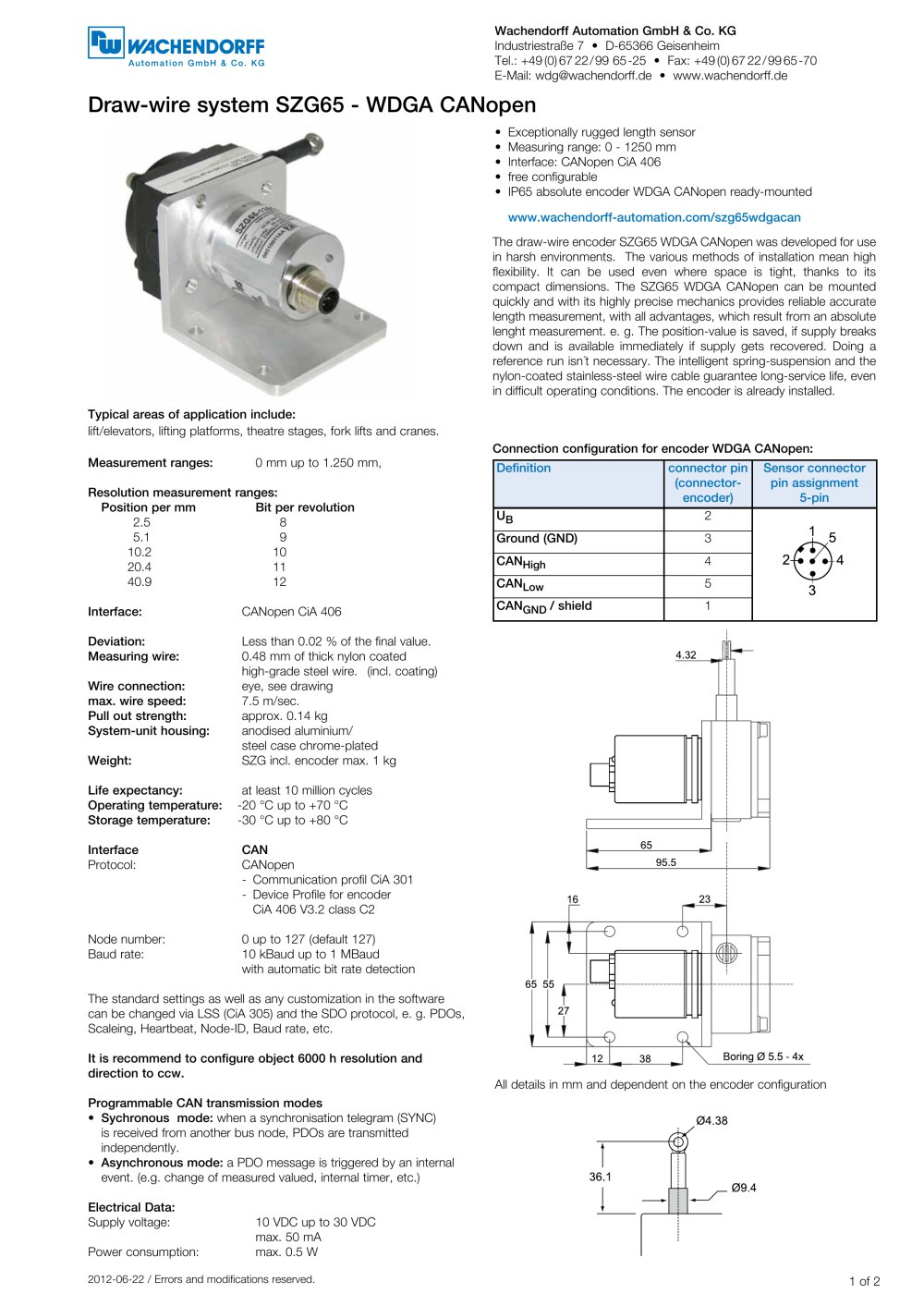 Assembly instructions draw-wire system SZG65 with absolute encoder WDGA 36Z  CANopen - 1 / 3 Pages