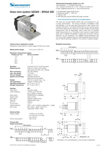 Assembly instructions draw-wire system SZG65 with absolute encoder WDGA 36Z SSI