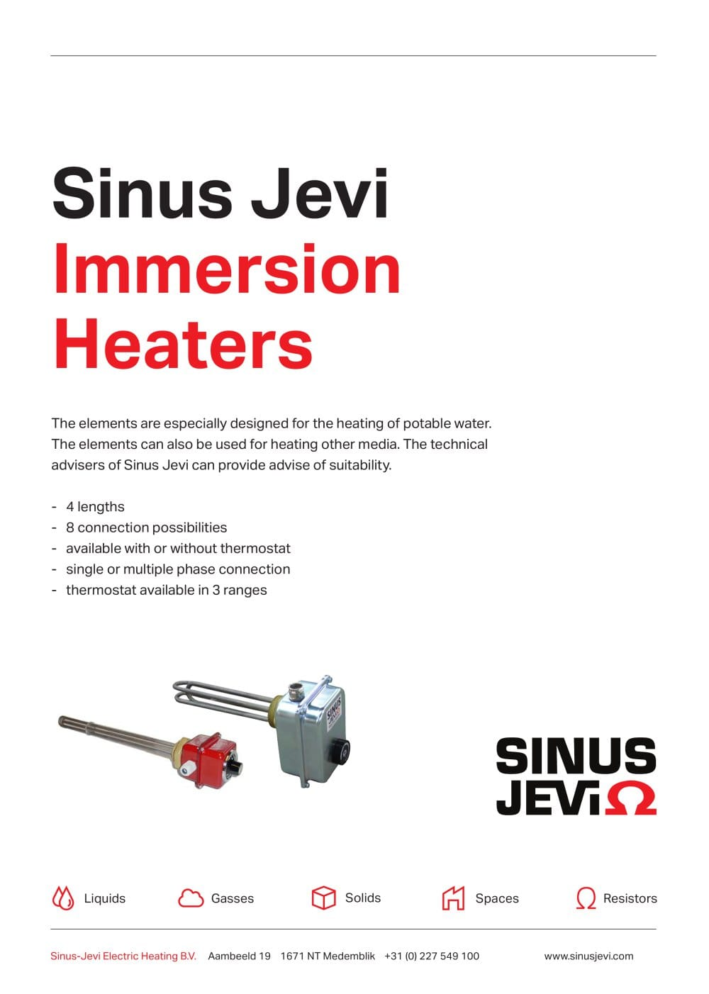 Immersion Heaters Standard Sinus Jevi Electric Heating Bv Cartridge Heater Wiring Diagram 1 10 Pages