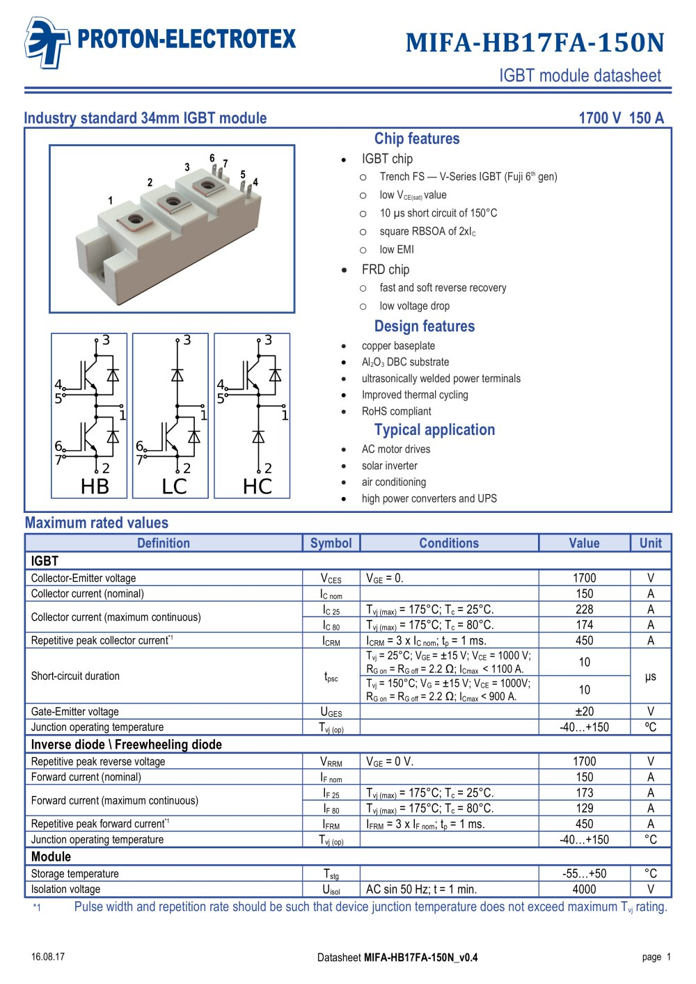 Mifa Hb17fa 150n Proton Electrotex Jsc Pdf Catalogue Circuit Also Solar Inverter Diagram On Igbt 1 9 Pages