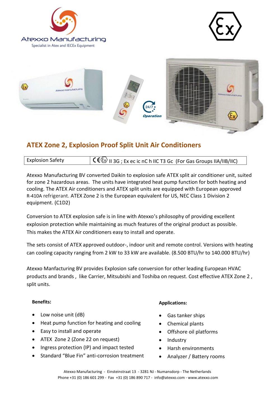 ATEX Zone 2 Split Unit Air Conditioners Atexxo Manufacturing BV