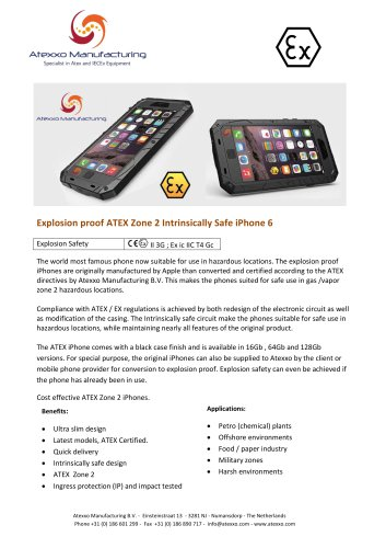 Explosion proof ATEX Zone 2 Intrinsically Safe iPhone 6 - Atexxo