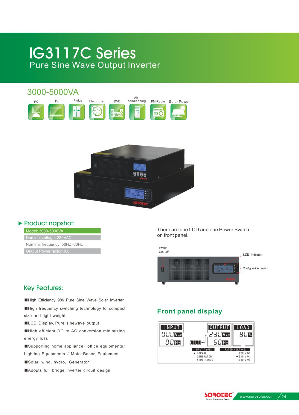 Pure Sine Wave Solar Inverter Ig3117c 3 5kva Shenzhen Soro High Power Circuit 1 2 Pages