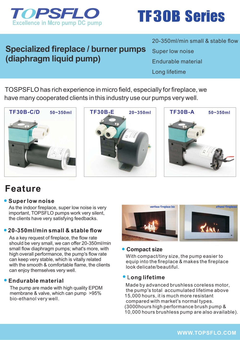 TOPSFLO Diaphragm fireplace PUMP burner pumps - TOPSFLO INDUSTRY ...