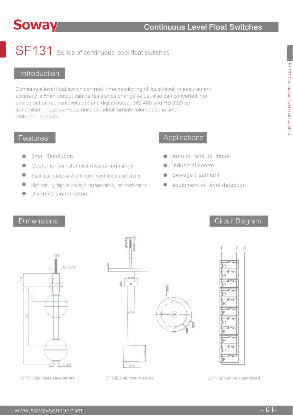Tank Level Float Switch Schematic For Control Wiring Diagram Sample Oil Soway Magnetic Sf131 Continuous Type Tech Water Sensor