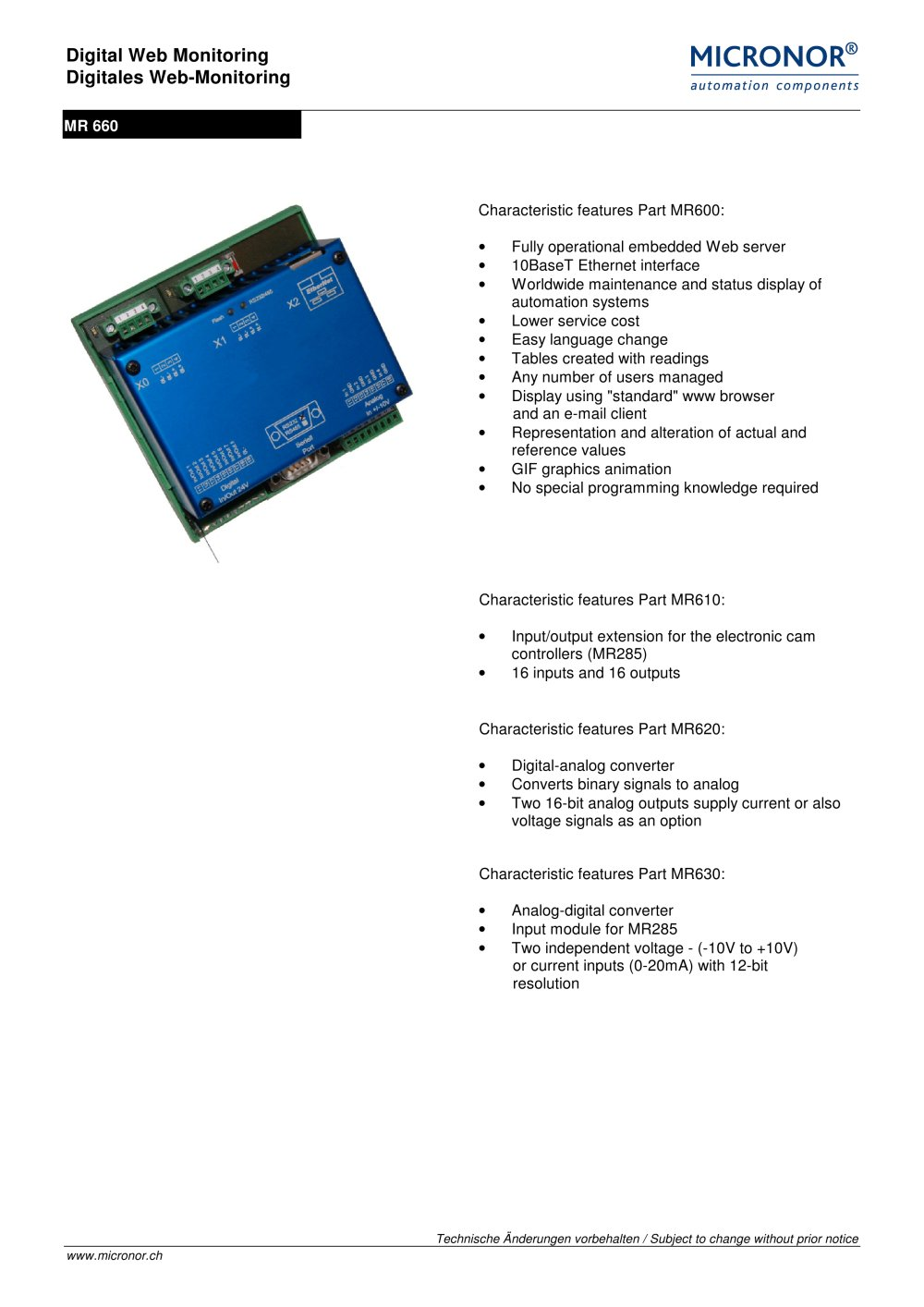 Digital Web-server (with additional functions) Typ: MR 660