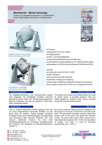 Brochure Double Cone Dryer & Tumbling Dryer