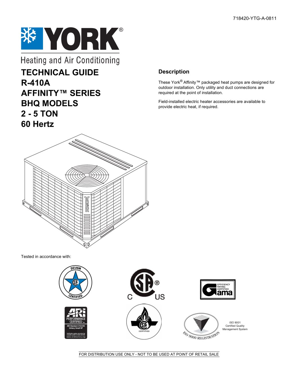 BHQ024 - 060 Affinity? R-410A Single Package Heat Pumps (Wichita Built) - 1  / 42 Pages