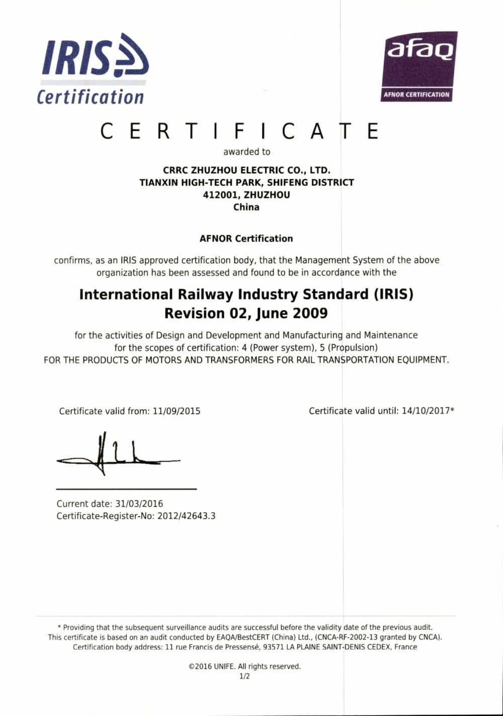 IRIS Certificate - CRRC ZHUZHOU ELECTRIC CO., LTD - PDF Catalogue ...