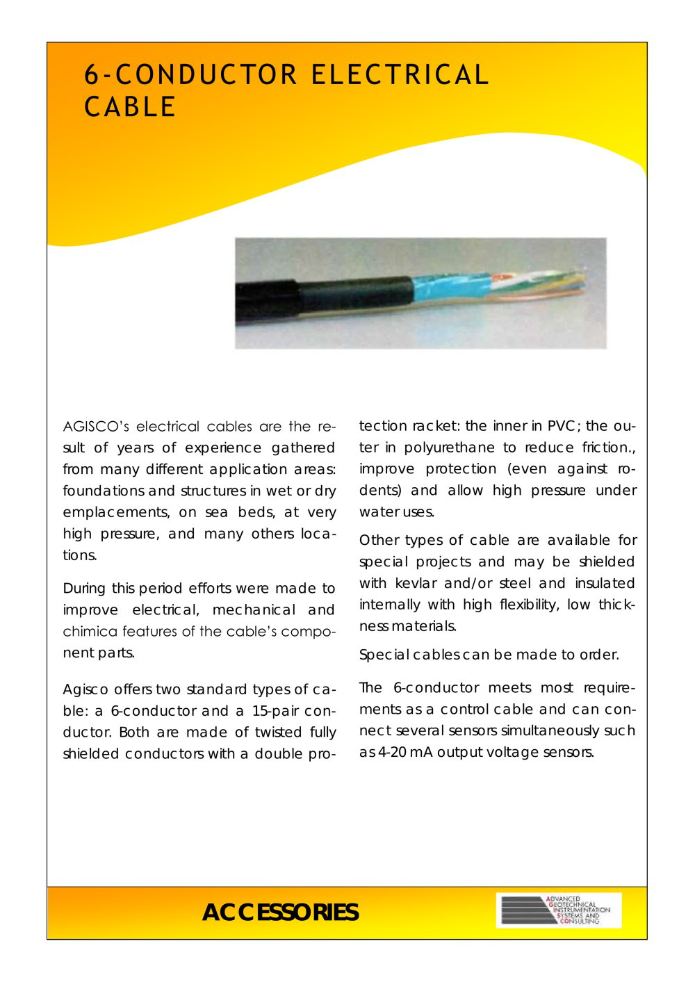 6 Conductor Electrical Cable Agisco Srl Pdf Catalogs Copper Wire Ductor Pvc Insulated 1 2 Pages