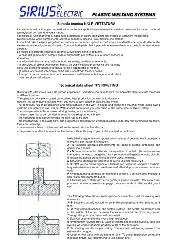 Scheda  tecnica-ultrasuoni Rivettatura. Technical  data-ultrasonic  Rivetting.