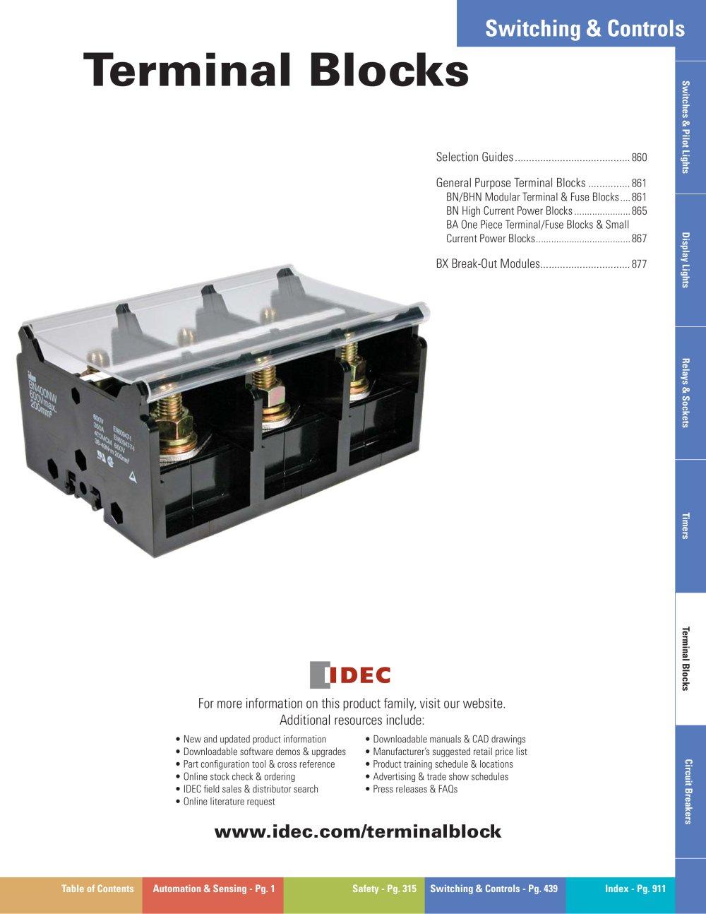 Complete Terminal Blocks Catalog Idec Pdf Catalogs Technical Relay Crimp 1 22 Pages