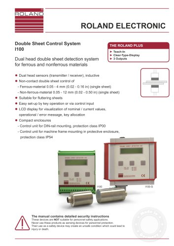 I100 Double Sheet Detection in Sheet Metal Processing