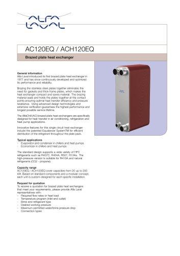 Brazed Plate Heat Exchanger AC120EQ / ACH120EQ - Alfa Laval - PDF ...