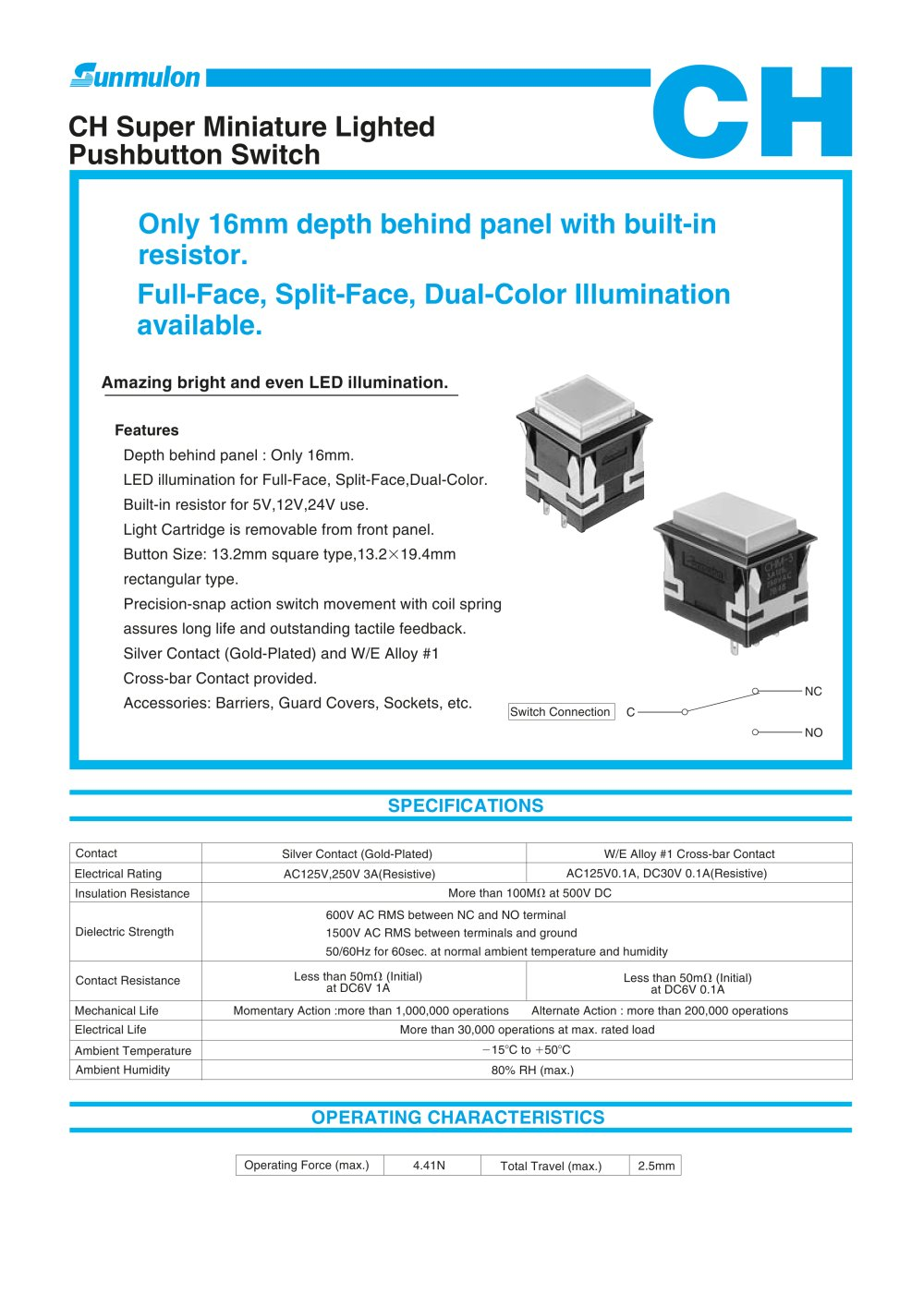 Ch Super Miniature Lighted Pushbutton Switch Sunmulon Pdf Push Button 5mm 1 11 Pages