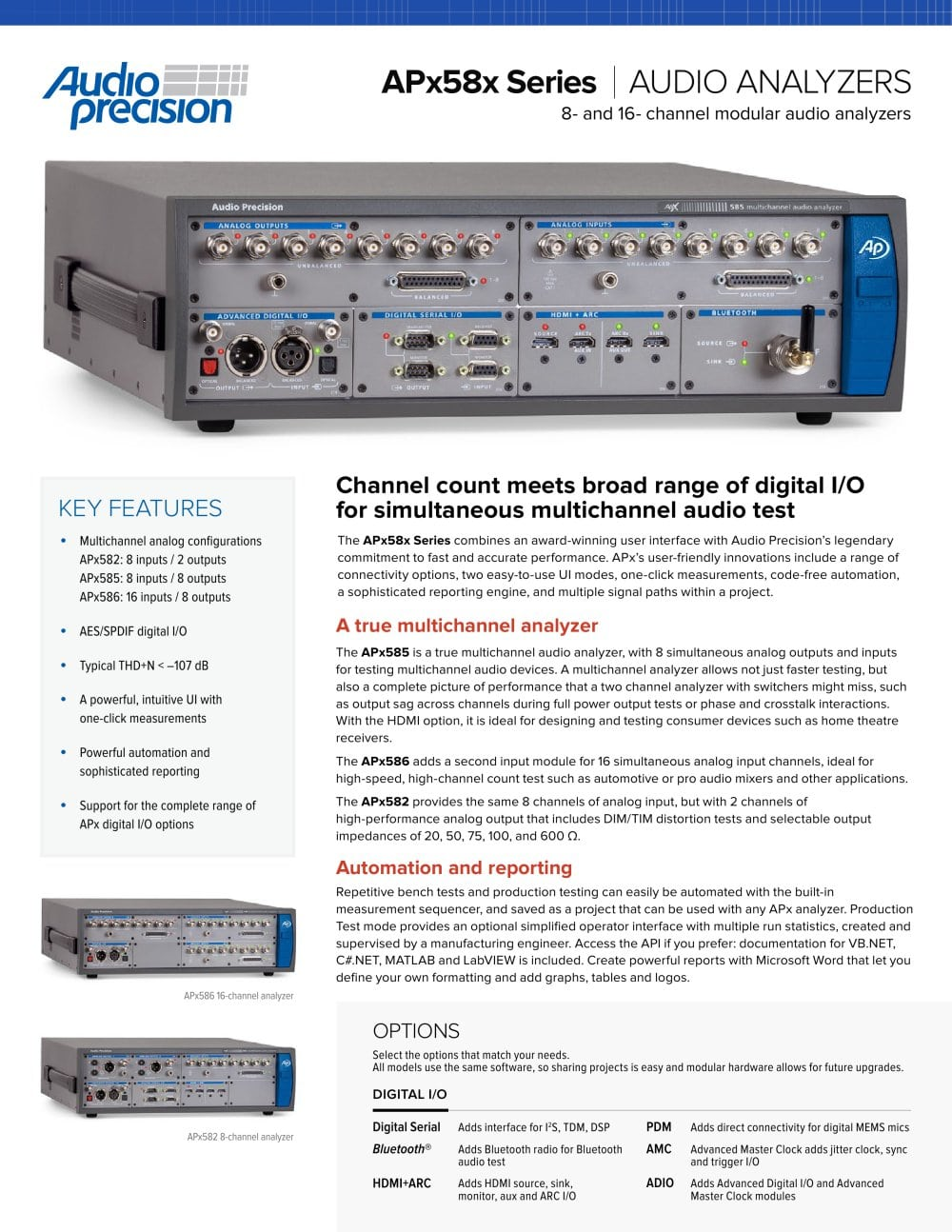 Apx58x Series Audio Precision Pdf Catalogue Technical Modular Mixer With Multiple Input Channels 1 2 Pages